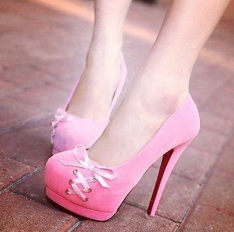 shoes pink high heels cute platform high heels bows ribbon