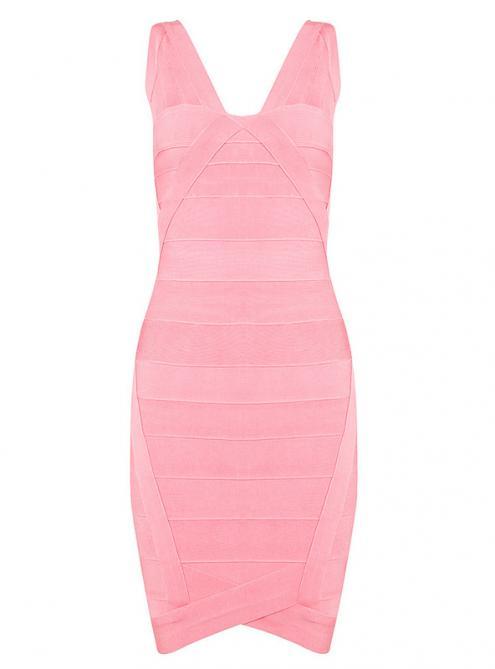 Pink V-neck Bandage Dress H148$99