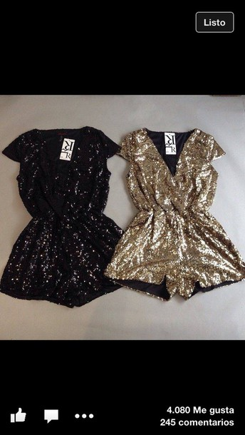 509c00d21e45 jumpsuit black or gold romper new years outfit new balance new year's eve  new girl glitter