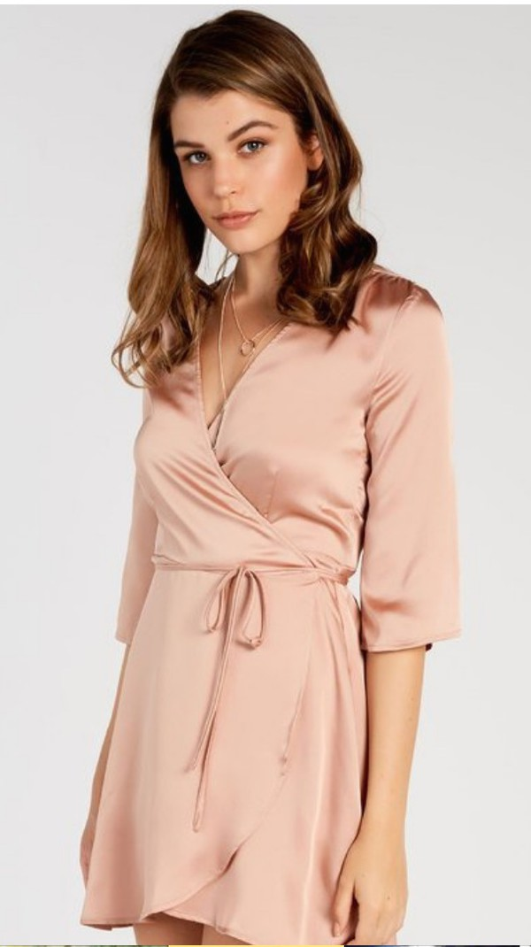 Rose gold silk dress