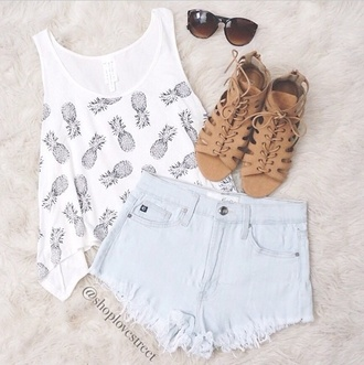 shoes top summer cool pine apple pineapple tank top high waisted shorts high waisted denim shorts faded denim white tank top sunglasses summer outfits summer shorts tropical t-shirt jewels acne studios pine hipster shirt white grey shorts
