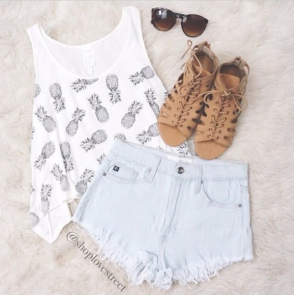 shoes top summer cool pine apple pineapple tank top High waisted shorts high waisted denim shorts faded denim white tank top sunglasses summer outfits summer shorts tropical t-shirt jewels acne studios pine hipster sunglasses shirt t-shirt white grey shorts