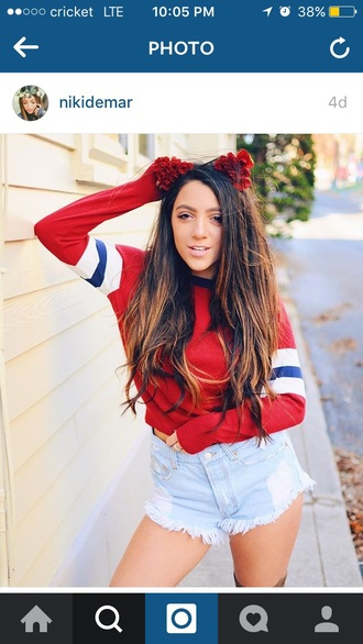 sweater red christmas sweater white black niki and gabi niki demartino fall outfits urban outfitters fashion