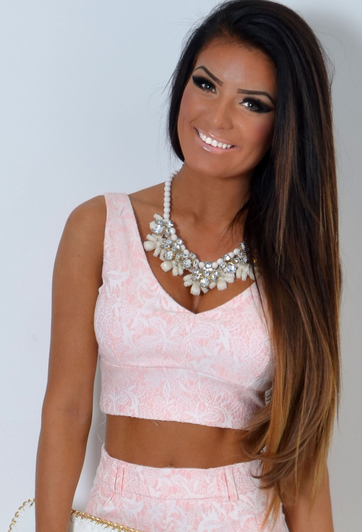 Treasure Pink and Ivory Textured Floral Bralet Top | Pink Boutique