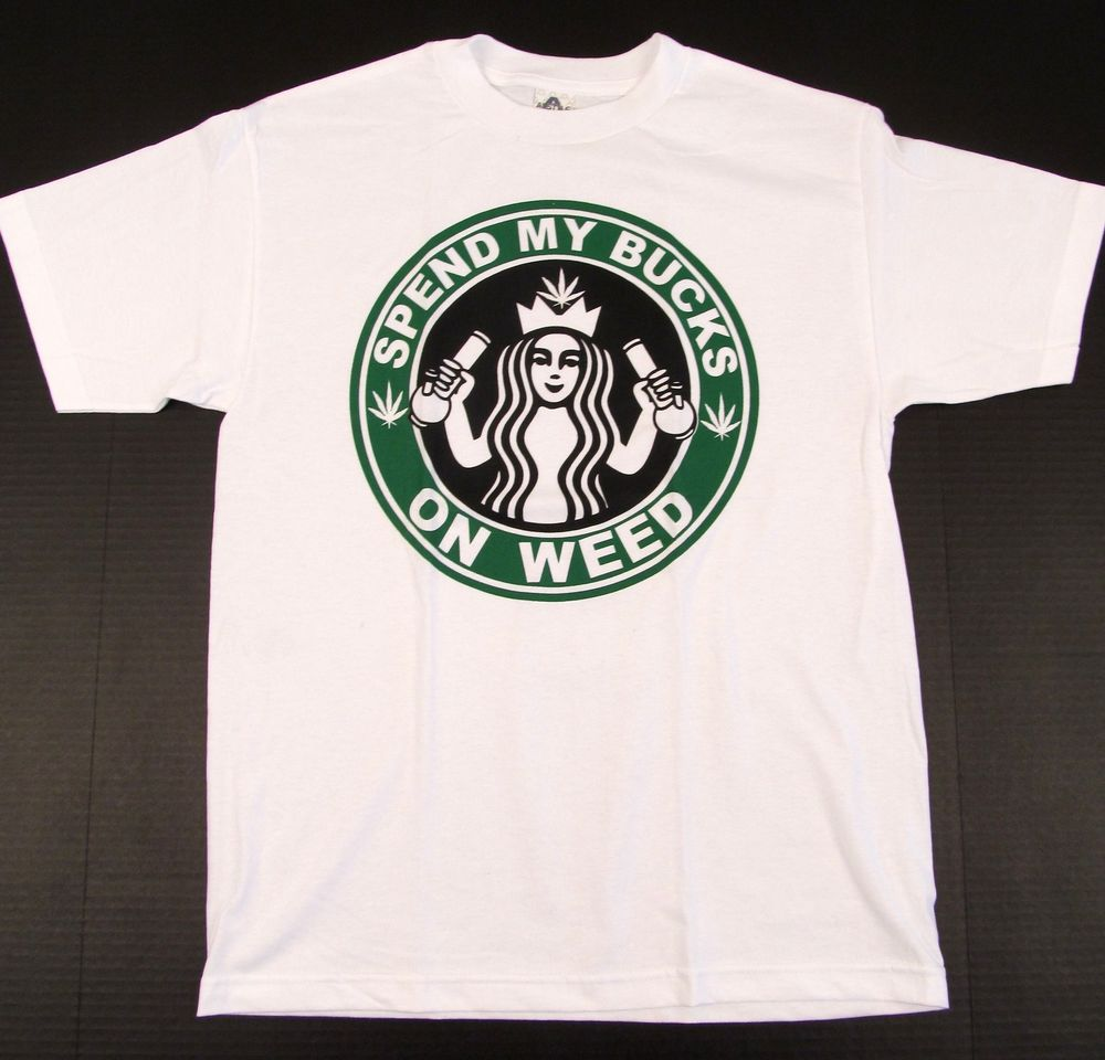 Marijuana T-shirt Weed Stoner STARBUCKS Coffee Parody Logo Tee Adult S-2XL White