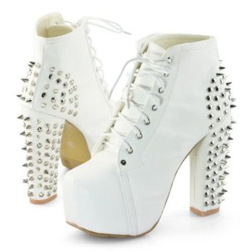 Womens spike stud lace up high block chunky heel platform shoes booties boots on Wanelo