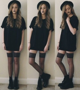 dress grunge black hat socks t-shirt shoes black shirt dress