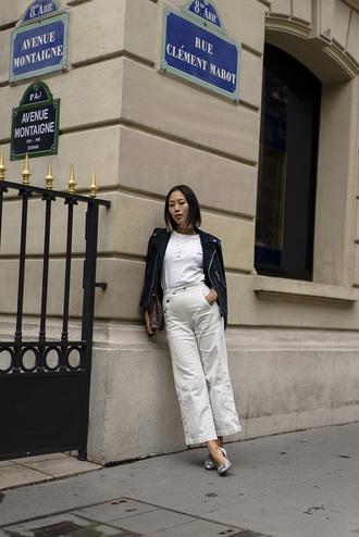 pants tumblr white pants culottes pumps jacket t-shirt white t-shirt pointed toe pumps shoes