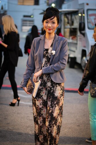 jumpsuit floral jumpsuit blazer grey blazer bag office outfits louis vuitton