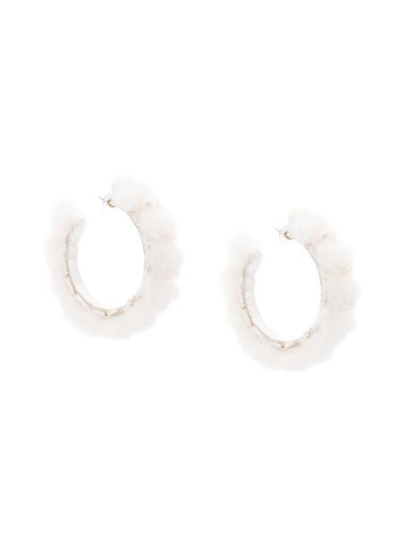 Ranjana Khan fur women earrings white jewels