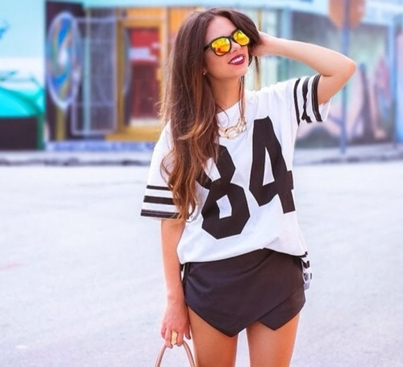 skirt black fashion shirt wide numbrers white football boyfriend leather skort shorts blogger street fashion