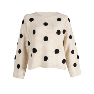 Polka dot sweater in cream