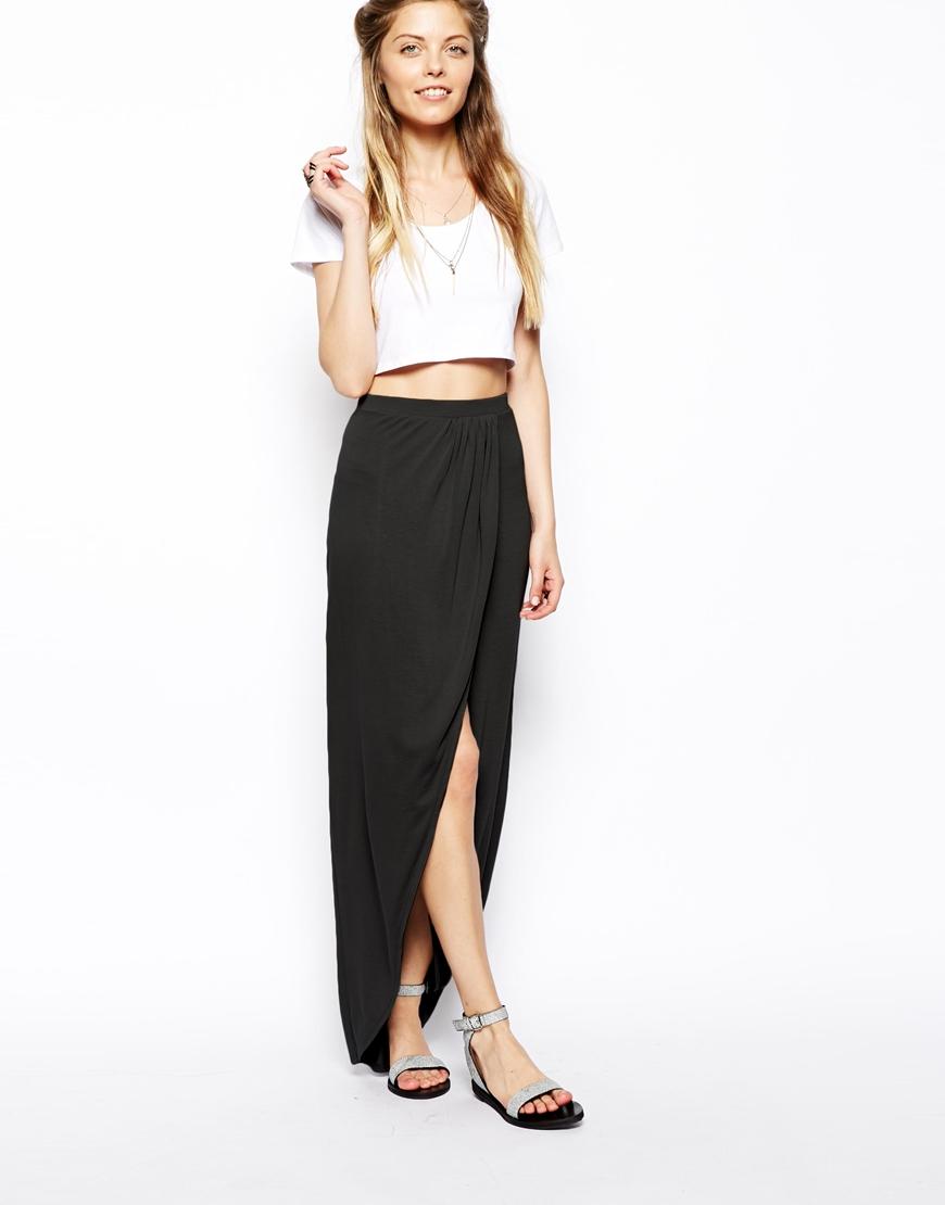 ASOS Wrap Maxi Skirt in Jersey at asos.com