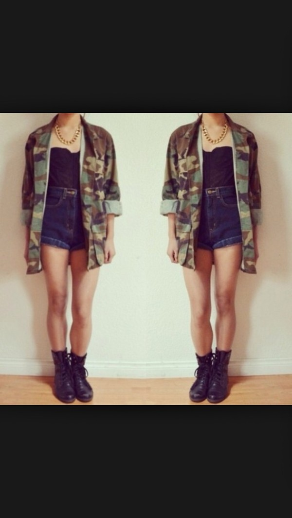 jacket army green jacket shirt shorts