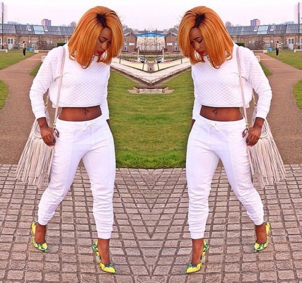 pants white pants white crop tops like this
