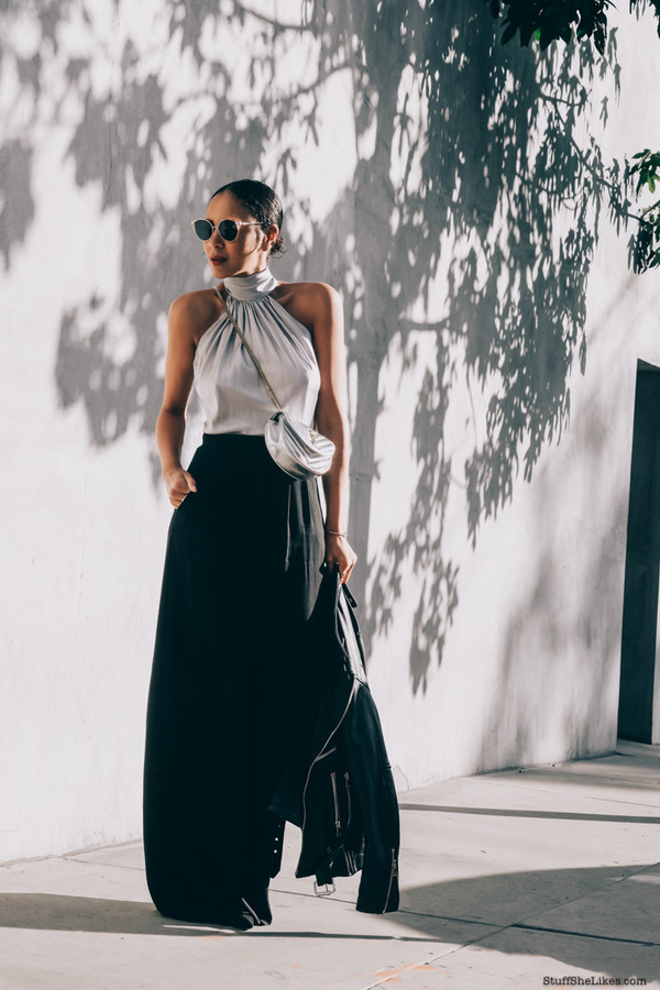 41ad115d1a stuffshelikes blogger top pants sunglasses bag jacket halter top maxi skirt  black leather jacket crossbody bag.