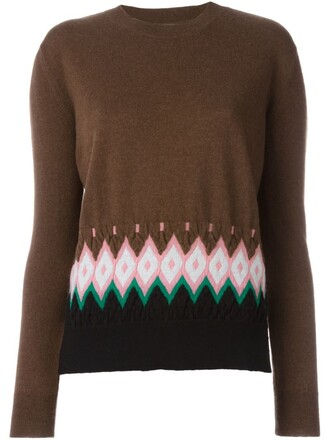 jumper geometric brown sweater