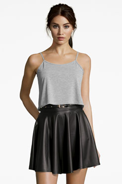 Jules Leather Look Skater Skirt at boohoo.com