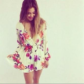 dress white dress long sleeved floral