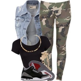 shoes jordans leggings camouflage vest crop tops black top jewels