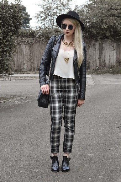 hat jewels bag jacket sammi jackson blogger sunglasses tartan printed pants
