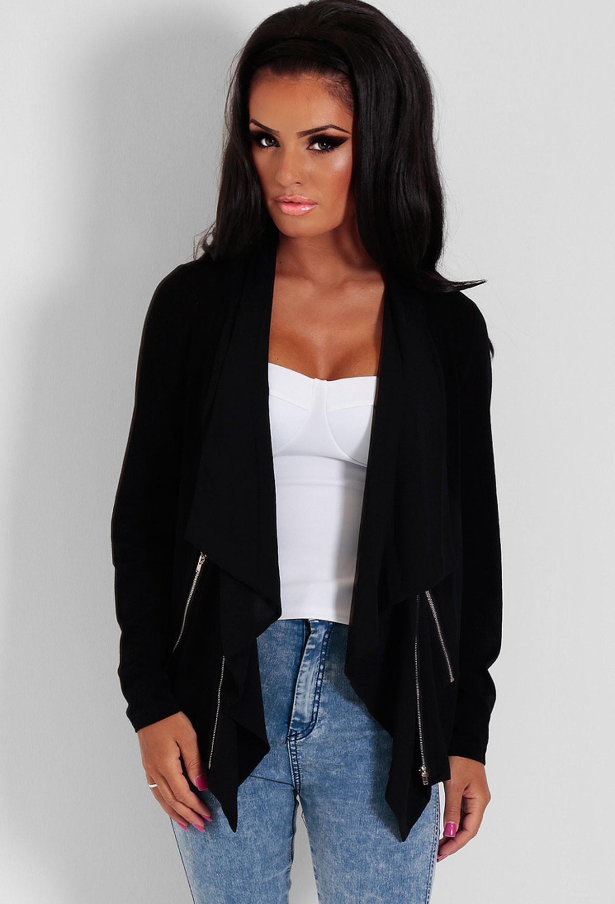 Selem Black Lightweight Drape Zip Jacket | Pink Boutique