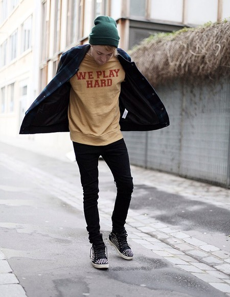 sweater quote on it we play hard yellow red menswear beanie fall outfits