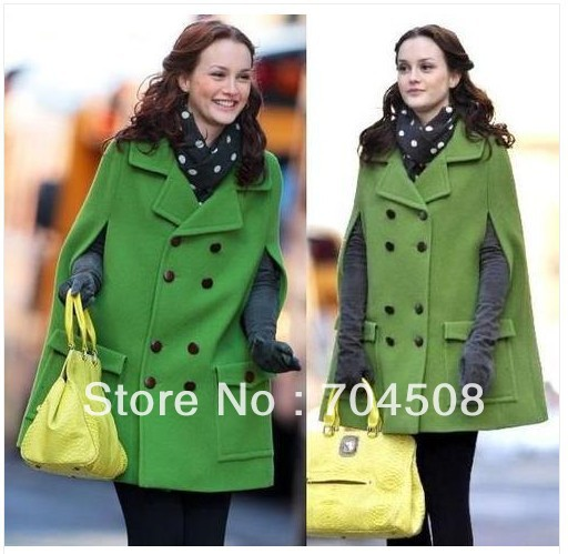 J43 women gossip girl wool shawl cape fashion poncho coat ~ green~ sz: s m l