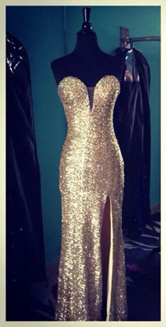dress gold prom dress long prom dress prom dress gold sequins strapless dress champagne prom dress slit side gold sparkly dress no idea please help gold dress gold sequins dress sexy dress high slit dresses champagne sparkle silver prom formal slit strapless long dress style