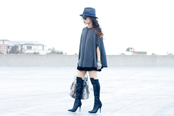 cape blogger bag jewels thigh high boots fall outfits sunglasses it's not her it's me gloves