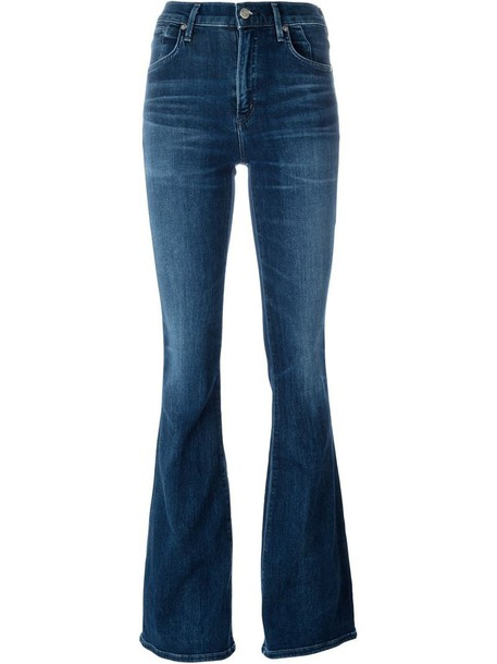 jeans high women cotton blue