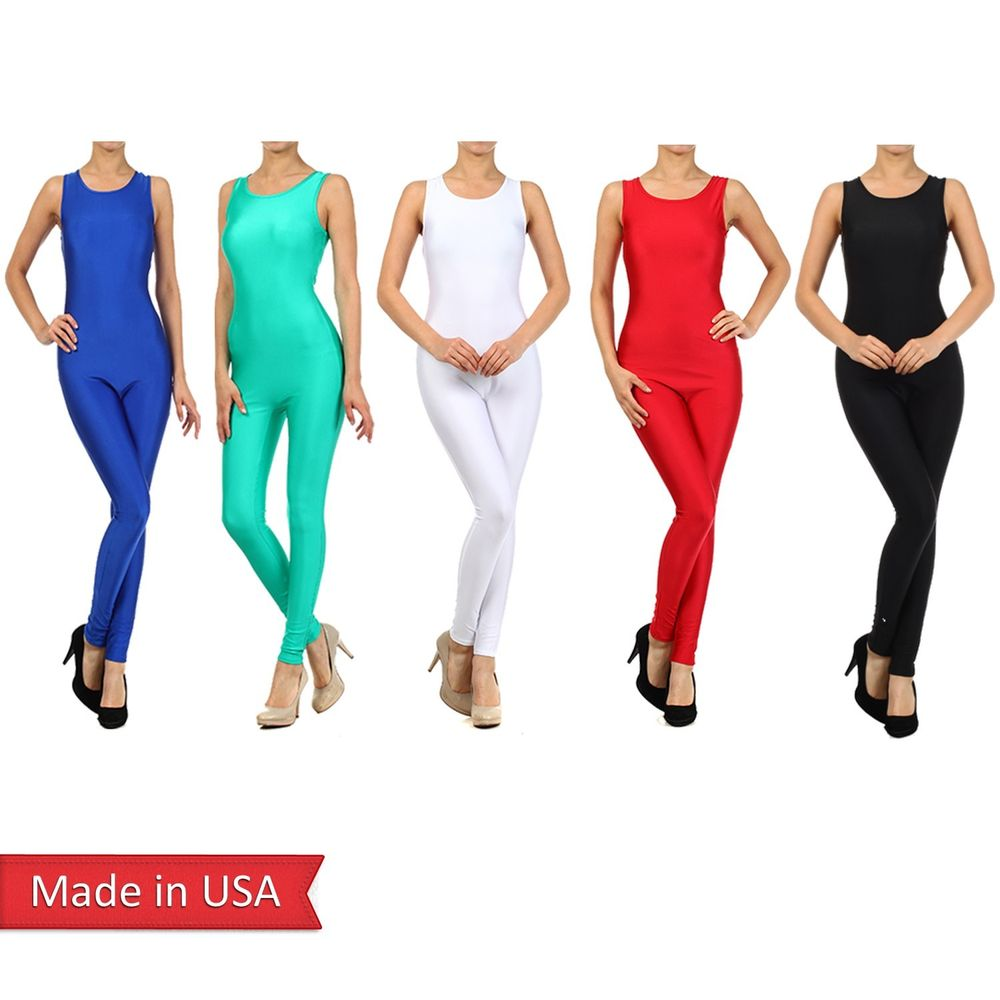 Slim Fitted Solid Color Black Sleeveless Skinny Leg Romper Jumpsuit Pants USA