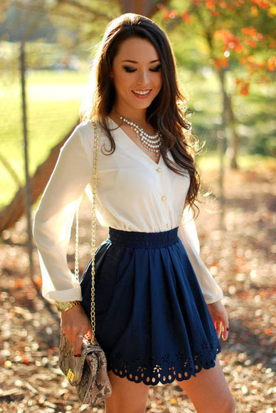 leather bag blouse white blouse cute skirt classy girls wear pearls skirt