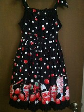 dress,strawberry,black dress,strawberry dress,lolita,gothic lolita,pokadot,polka dots,poka dot dress