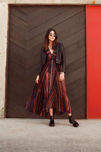 dress maxi dress striped dress jacket leather jacket stripes v neck dress v neck