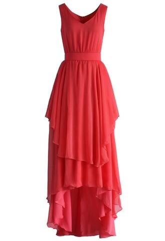 dress ethereal waterfall chiffon maxi dress in hot coral chicwish maxi dress