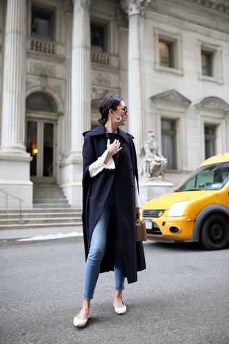 coat tumblr white flats navy navy coat blue long coat long coat cape shirt white shirt denim jeans blue jeans skinny jeans ballet flats flats bag brown bag boxed bag earrings accessories accessory sunglasses black sunglasses