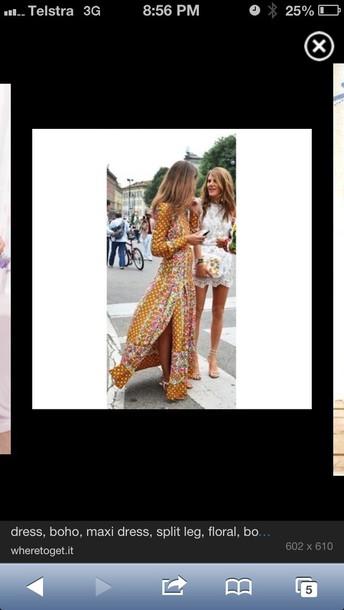dress mustard floral split le slit dress boho maxi floral maxi dress