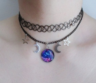 jewels galaxy print necklace moon necklace