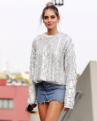 sweater tumblr silver silver sweater metallic skirt mini skirt denim denim skirt chiara ferragni top blogger lifestyle