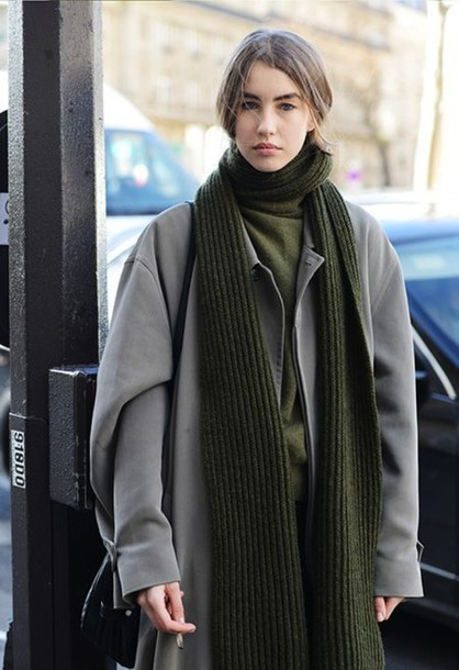 coat oversized coat grey coat grey oversized coat oversized scarf knitted scarf streetstyle winter outfits winter look winter coat sweater green sweater