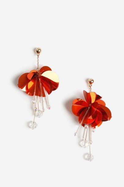 Topshop earrings orange jewels