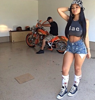 high socks babe high waisted shorts motorcycle bae cropped converse bucket hat india westbrooks the westbrooks shorts high waisted hat india love socks sneakers shoes fcc fcc bucket hat bae shirt summer outfits summer shorts weave camouflage orange