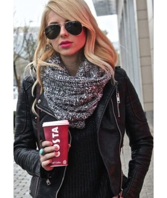 scarf black white grey knit