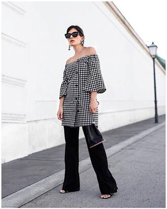 dress tumblr gingham gingham dresses mini dress off the shoulder off the shoulder dress pants black pants wide-leg pants bag black bag bucket bag shoes