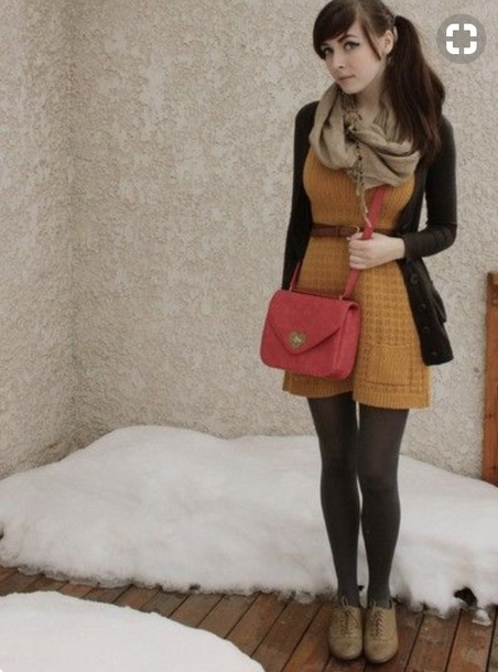 dress yellow knit