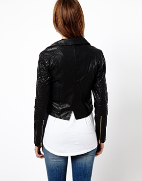 Warehouse | Warehouse Leather Look Zip Biker Jacket at ASOS