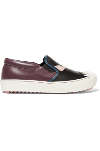 sneakers leather black burgundy shoes