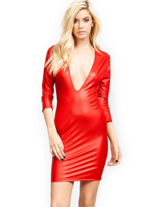 red dress faux leather v neck dress mini dress sexy