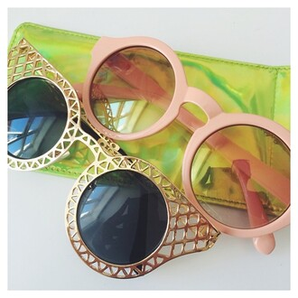 sunglasses gold round frame glasses